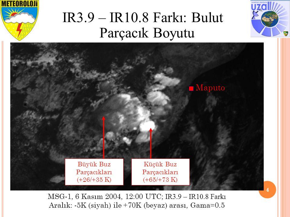 5 Opak Buz Bulutları için Gözlenen IR3.9 – IR10.8 Farkı IR3.9 – IR10.8 parlaklık sıcaklığı farkı iki şeye bağlıdır: bulut parçacık büyüklüğü ve bulut tepe sıcaklığı (ve güneş/uydu görüş açıları) 78 68 56 72 62 50 65 55 43 58 47 35 47 37 25 0 0 0 IR3.9 Yans.