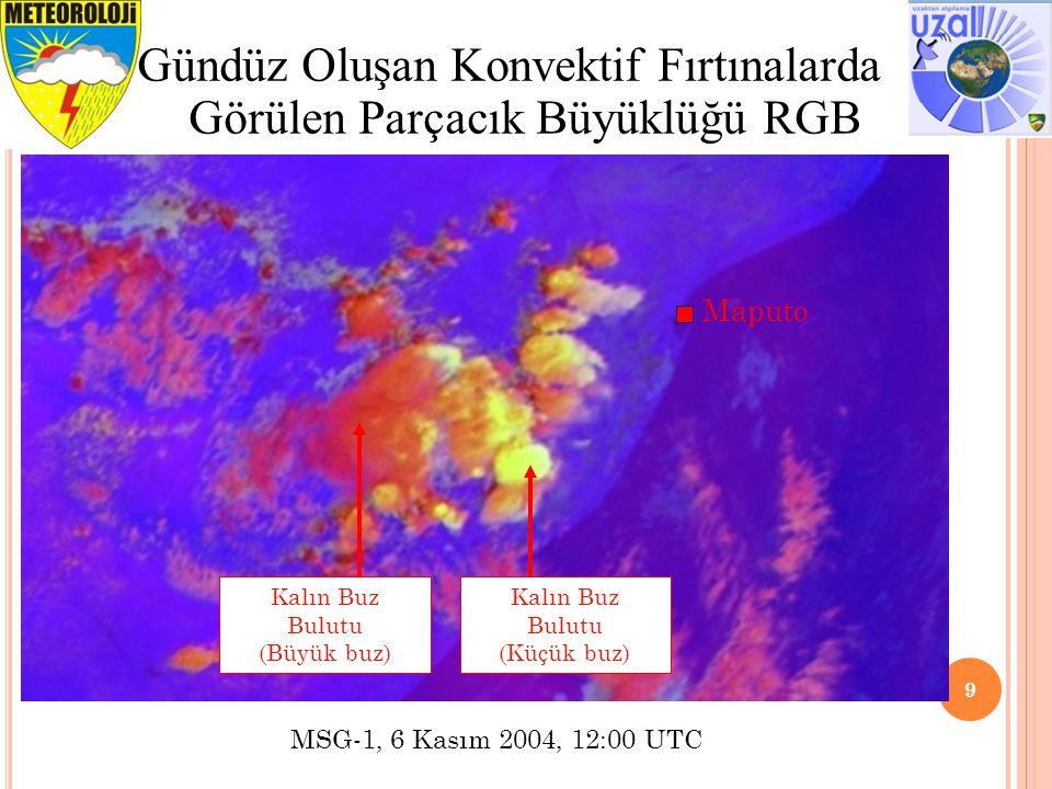 Tavsiye edilen veri aralığı ve İyileştirme 10 RGB 05-06, 04-09, 03-01 (Gündüz Oluşan Konvektif Fırtınalar) RenkKanalAralık Gama İyileştirmesi KırmızıWV6.2 – WV7.3-35 ile +5K arası1.0 YeşilIR3.9 – IR10.8-5 ile +60K arası0.5 MaviNIR1.6 – VIS0.6-75 ile +25% arası1.0