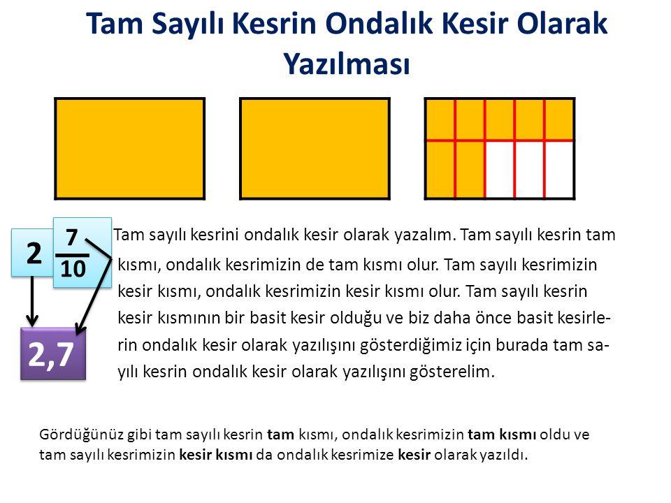 Önemli Notlar: Kesrimizin paydası 10 ise ondalık kesrimizde virgülün sağı yani kesir kısmı bir basamaklıdır.