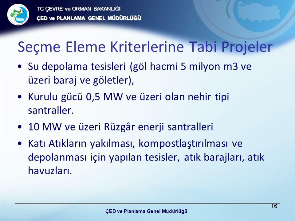 TC ÇEVRE ve ORMAN BAKANLIĞI ÇED ve PLANLAMA GENEL MÜDÜRLÜĞÜ Seçme Eleme Kriterlerine Tabi Projeler Su depolama tesisleri (göl hacmi 5 milyon m3 ve üzeri baraj ve göletler), Kurulu gücü 0,5 MW ve üzeri olan nehir tipi santraller.