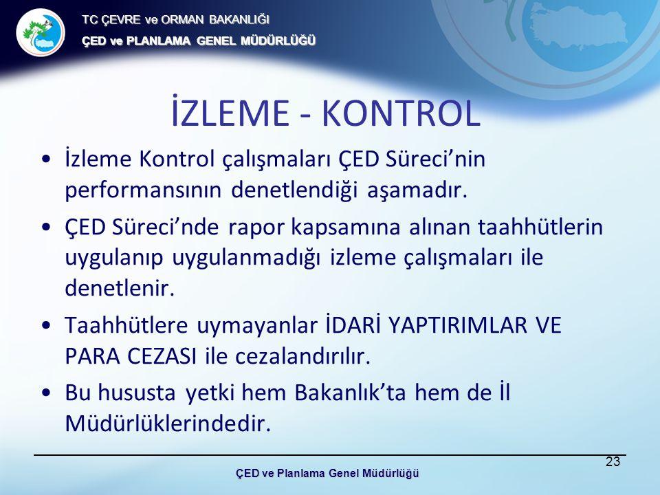 TC ÇEVRE ve ORMAN BAKANLIĞI ÇED ve PLANLAMA GENEL MÜDÜRLÜĞÜ İZLEME - KONTROL İzleme Kontrol çalışmaları ÇED Süreci'nin performansının denetlendiği aşamadır.