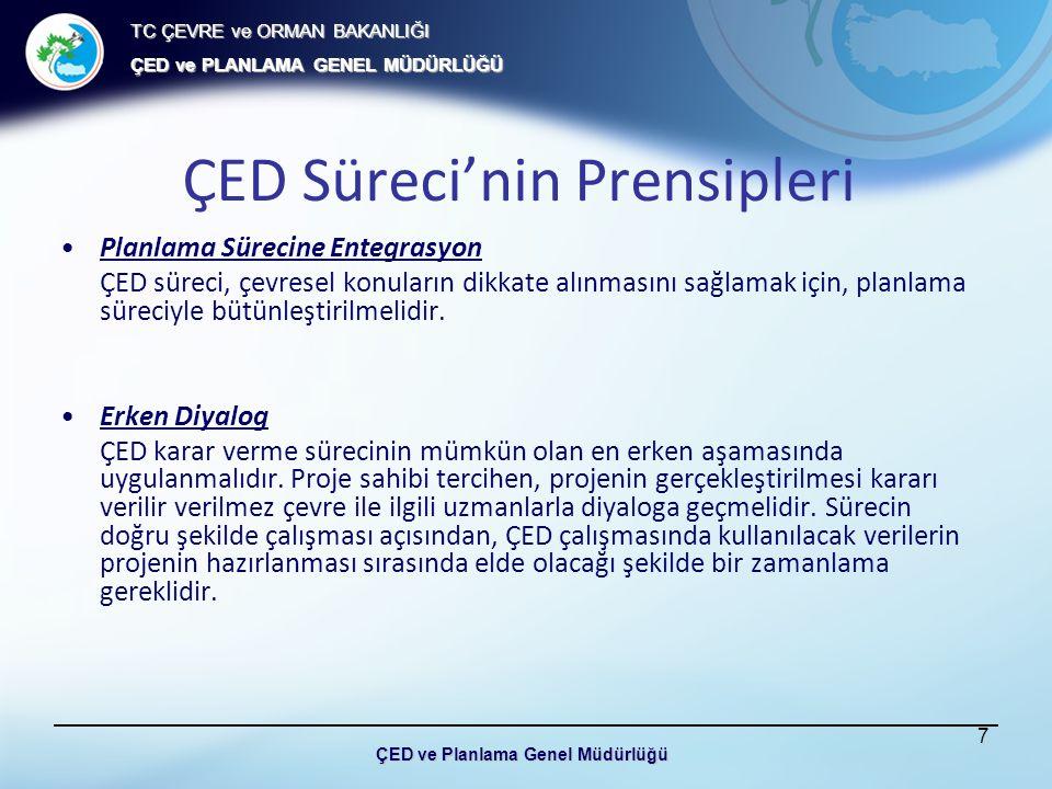 TC ÇEVRE ve ORMAN BAKANLIĞI ÇED ve PLANLAMA GENEL MÜDÜRLÜĞÜ ÇED ve Planlama Genel Müdürlüğü ÇED Süreci'nin Prensipleri Sorumluluk Proje sahibi, proje hedefleri gerçekleştirilirken etkileri azaltmak açısından en iyi konumda bulunduğu için, ÇED raporunu hazırlamakla sorumludur.