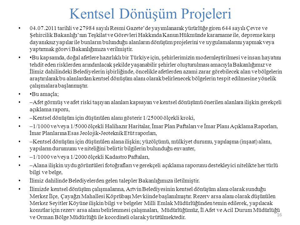 Kentsel Dönüşüm Projeleri 16 04.07.2011 tarihli ve 27984 sayılı Resmi Gazete'de yayımlanarak yürürlüğe giren 644 sayılı Çevre ve Şehircilik Bakanlığı'