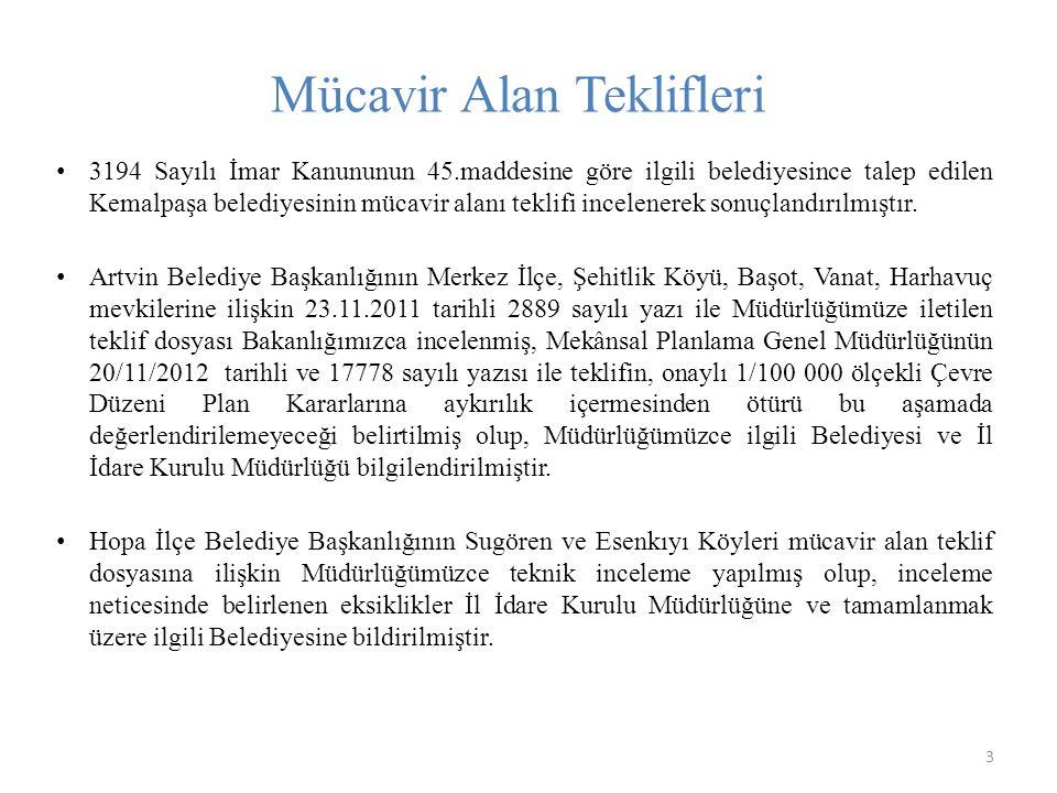 Mücavir Alan Teklifleri 3 3194 Sayılı İmar Kanununun 45.maddesine göre ilgili belediyesince talep edilen Kemalpaşa belediyesinin mücavir alanı teklifi