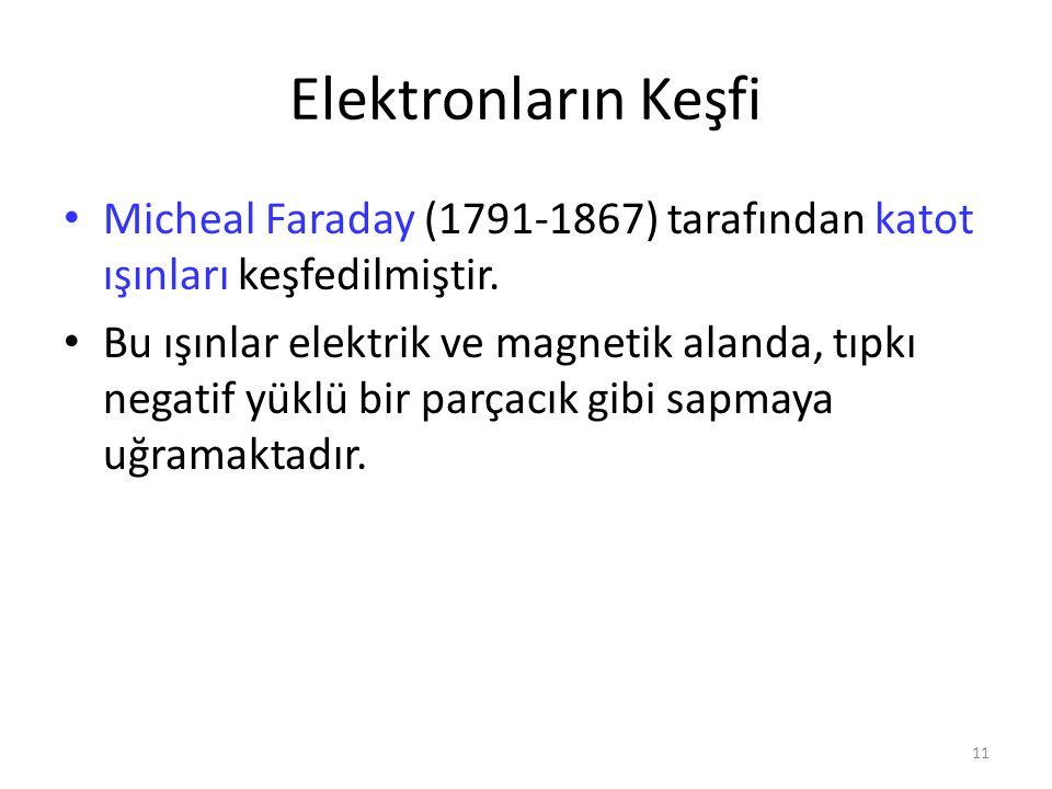 11 Elektronların Keşfi Micheal Faraday (1791-1867) tarafından katot ışınları keşfedilmiştir. Bu ışınlar elektrik ve magnetik alanda, tıpkı negatif yük