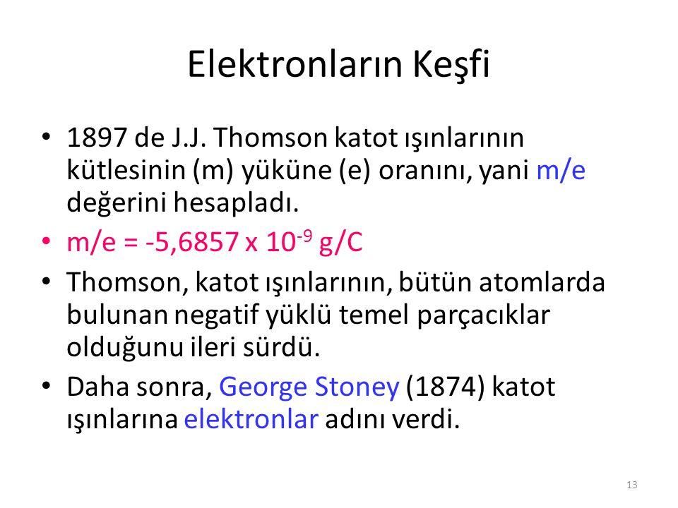 13 Elektronların Keşfi 1897 de J.J. Thomson katot ışınlarının kütlesinin (m) yüküne (e) oranını, yani m/e değerini hesapladı. m/e = -5,6857 x 10 -9 g/