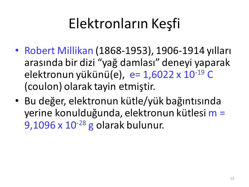 """14 Elektronların Keşfi Robert Millikan (1868-1953), 1906-1914 yılları arasında bir dizi """"yağ damlası"""" deneyi yaparak elektronun yükünü(e), e= 1,6022 x"""