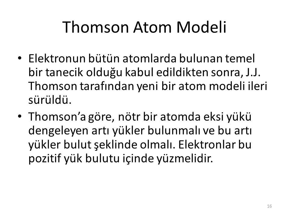 16 Thomson Atom Modeli Elektronun bütün atomlarda bulunan temel bir tanecik olduğu kabul edildikten sonra, J.J. Thomson tarafından yeni bir atom model