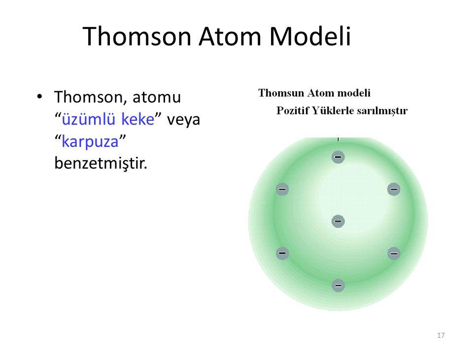 """17 Thomson Atom Modeli Thomson, atomu """"üzümlü keke"""" veya """"karpuza"""" benzetmiştir."""