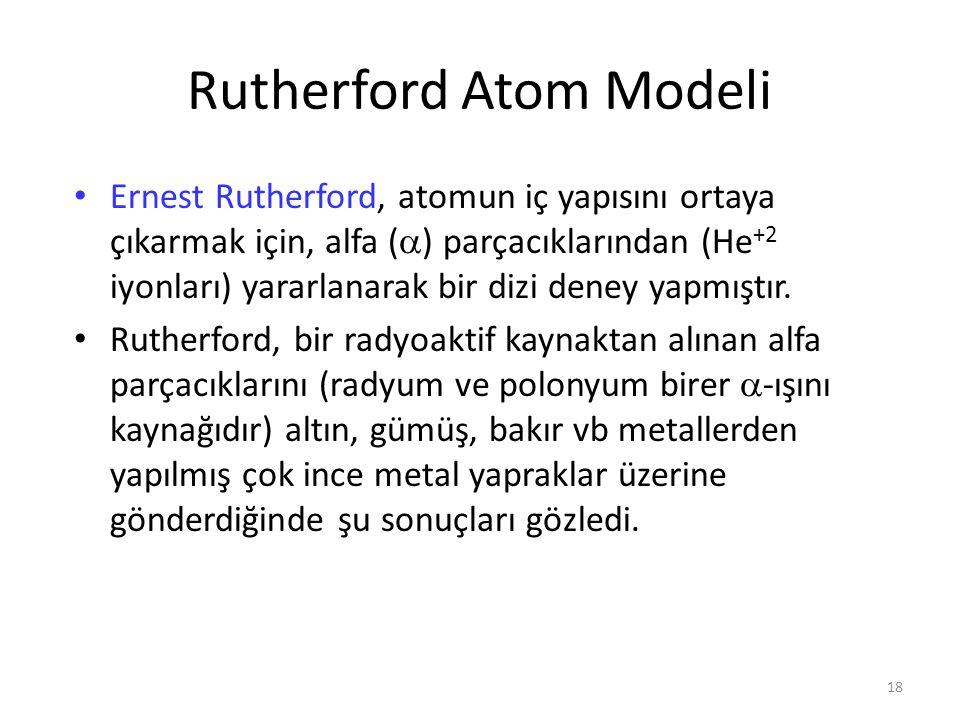 18 Rutherford Atom Modeli Ernest Rutherford, atomun iç yapısını ortaya çıkarmak için, alfa (  ) parçacıklarından (He +2 iyonları) yararlanarak bir di