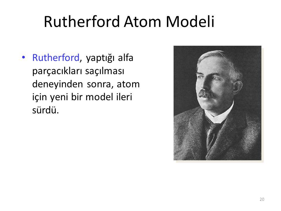 20 Rutherford Atom Modeli Rutherford, yaptığı alfa parçacıkları saçılması deneyinden sonra, atom için yeni bir model ileri sürdü.