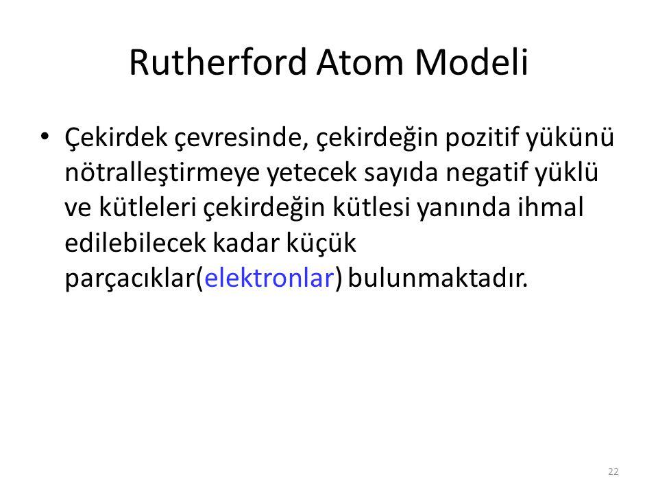 22 Rutherford Atom Modeli Çekirdek çevresinde, çekirdeğin pozitif yükünü nötralleştirmeye yetecek sayıda negatif yüklü ve kütleleri çekirdeğin kütlesi