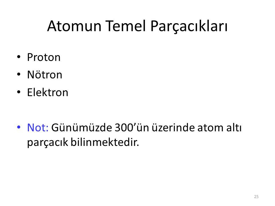 25 Atomun Temel Parçacıkları Proton Nötron Elektron Not: Günümüzde 300'ün üzerinde atom altı parçacık bilinmektedir.
