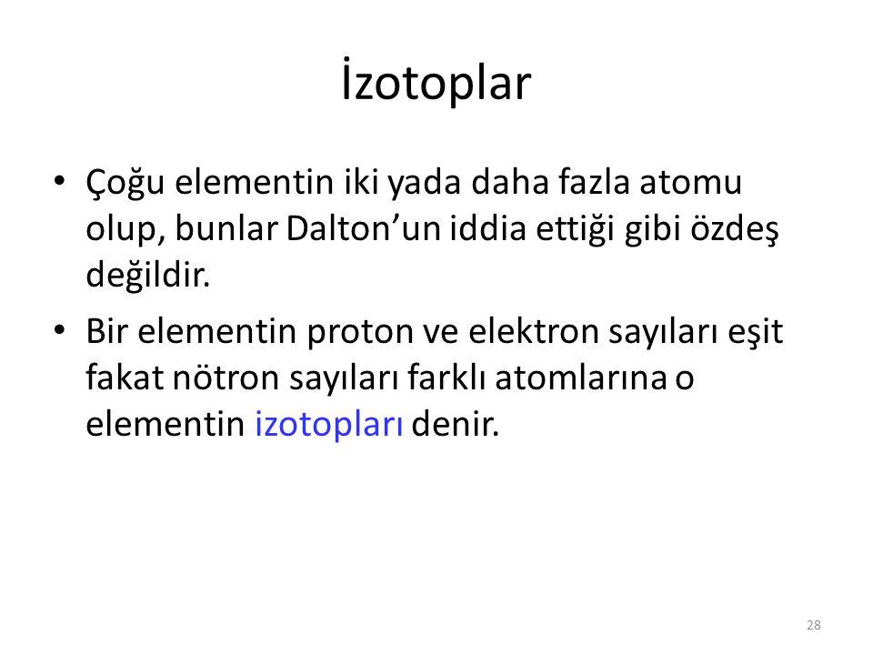 28 İzotoplar Çoğu elementin iki yada daha fazla atomu olup, bunlar Dalton'un iddia ettiği gibi özdeş değildir. Bir elementin proton ve elektron sayıla