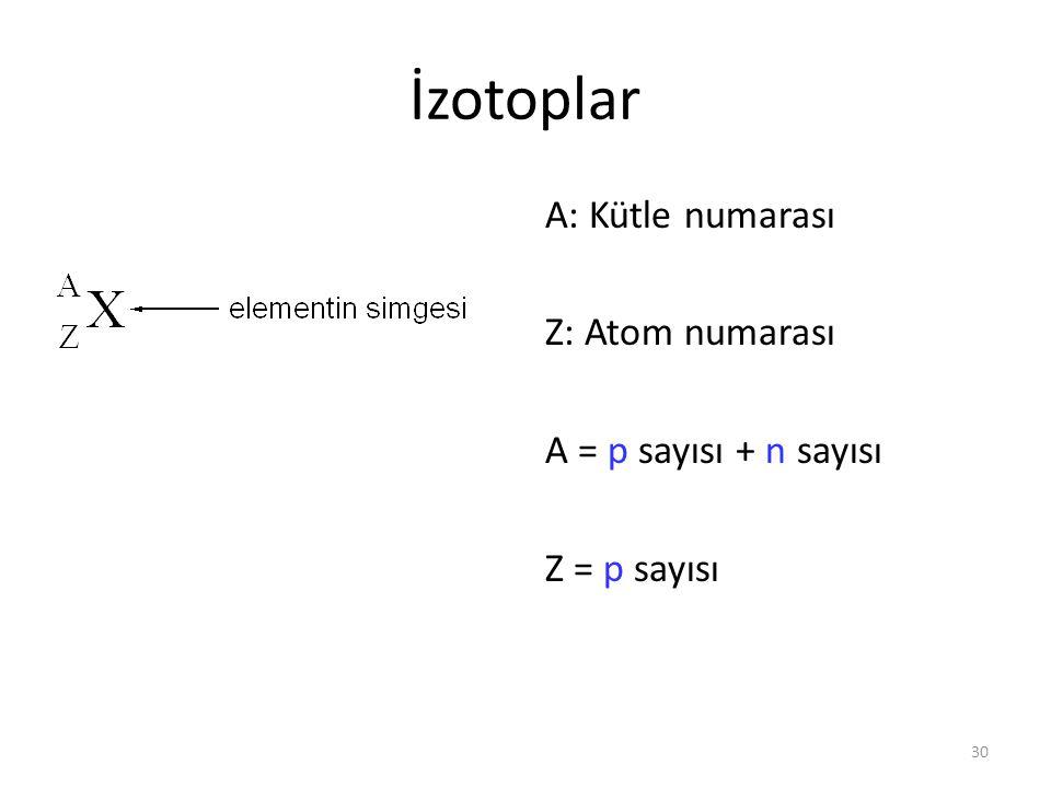 30 İzotoplar A: Kütle numarası Z: Atom numarası A = p sayısı + n sayısı Z = p sayısı
