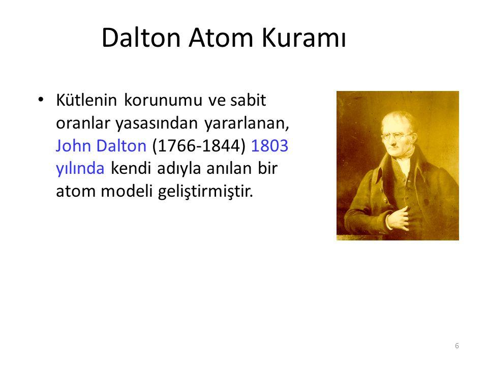 6 Dalton Atom Kuramı Kütlenin korunumu ve sabit oranlar yasasından yararlanan, John Dalton (1766-1844) 1803 yılında kendi adıyla anılan bir atom model