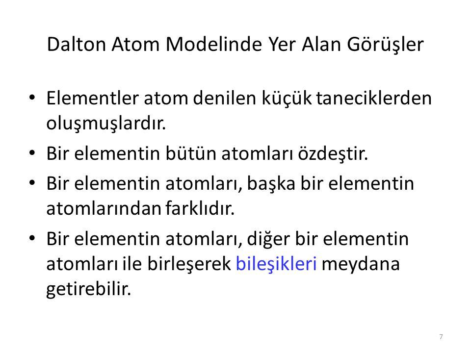 7 Dalton Atom Modelinde Yer Alan Görüşler Elementler atom denilen küçük taneciklerden oluşmuşlardır. Bir elementin bütün atomları özdeştir. Bir elemen