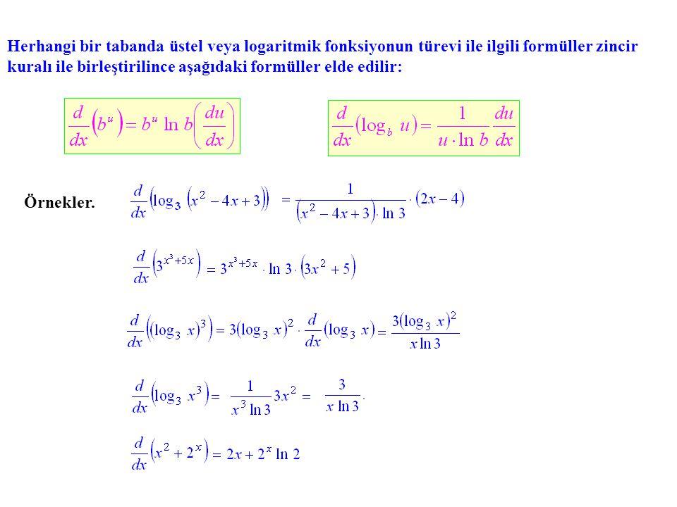 Herhangi bir tabanda üstel veya logaritmik fonksiyonun türevi ile ilgili formüller zincir kuralı ile birleştirilince aşağıdaki formüller elde edilir: Örnekler.