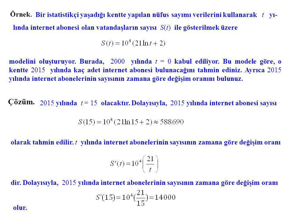 Örnek. Bir istatistikçi yaşadığı kentte yapılan nüfus sayımı verilerini kullanarak t yı- lında internet abonesi olan vatandaşların sayısı S(t) ile gös