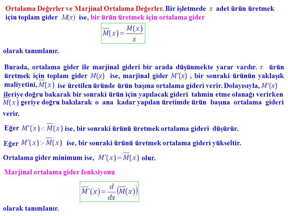 Ortalama Değerler ve Marjinal Ortalama Değerler. Bir işletmede x adet ürün üretmek için toplam gider M(x) M(x) ise, bir ürün üretmek için ortalama gid