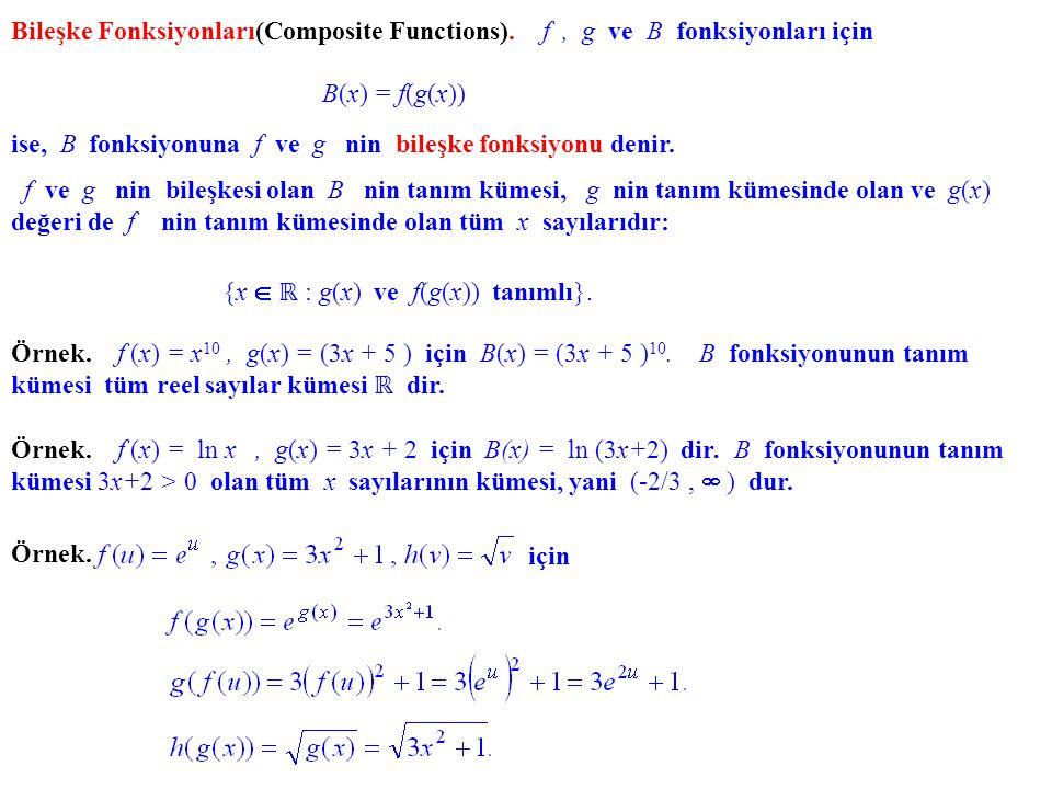 Bileşke Fonksiyonları(Composite Functions). f, g ve B fonksiyonları için B(x) = f(g(x)) ise, B fonksiyonuna f ve g nin bileşke fonksiyonu denir. f ve