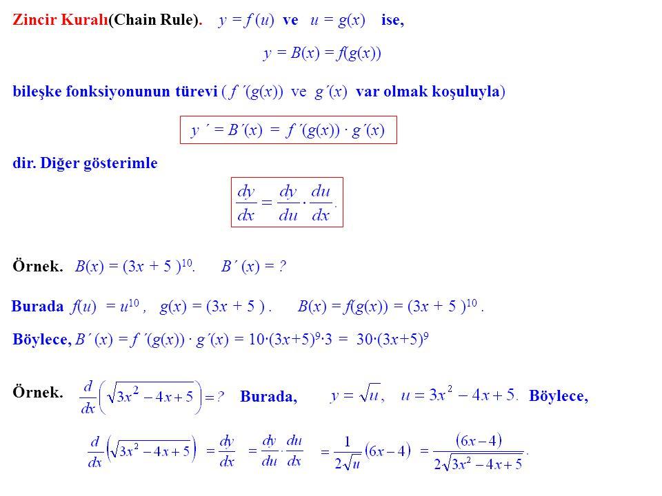 Zincir Kuralı(Chain Rule). y = f (u) ve u = g(x) ise, y = B(x) B(x) = f(g(x)) bileşke fonksiyonunun türevi ( f ´(g(x)) ve g´(x) var olmak koşuluyla) y