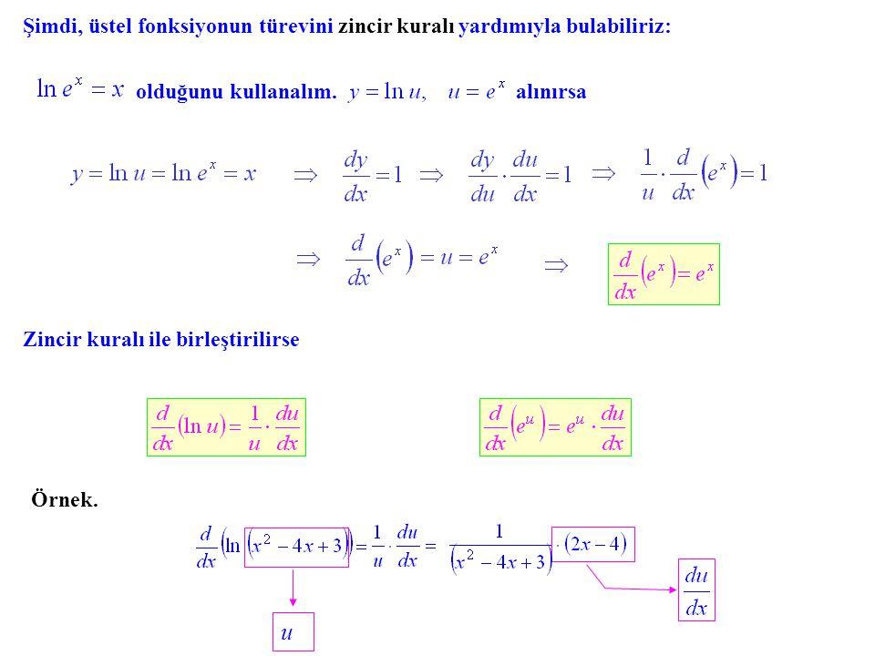 Şimdi, üstel fonksiyonun türevini zincir kuralı yardımıyla bulabiliriz: olduğunu kullanalım.alınırsa Zincir kuralı ile birleştirilirse Örnek. u