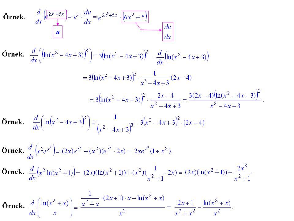 Herhangi bir tabanda üstel veya logaritmik fonksiyonun türevi taban değişimi for- mülleri, doğal üstel ve logaritmik fonksiyonların türevi ve zincir kuralı yardımıyla bulunur.