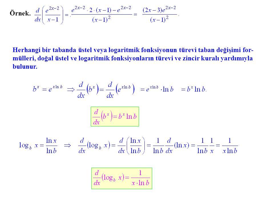 Herhangi bir tabanda üstel veya logaritmik fonksiyonun türevi taban değişimi for- mülleri, doğal üstel ve logaritmik fonksiyonların türevi ve zincir k