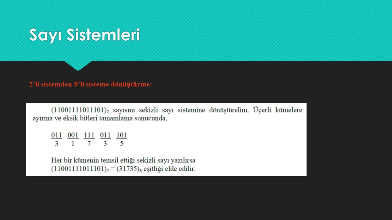 Sayı Sistemleri 8'li sistemden 2'lik sisteme dönü ş türme