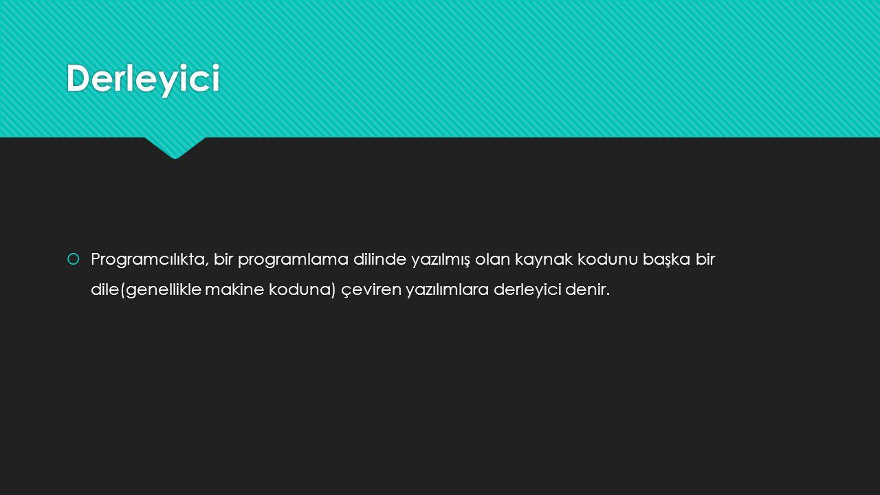 Derleyici  Programcılıkta, bir programlama dilinde yazılmış olan kaynak kodunu başka bir dile(genellikle makine koduna) çeviren yazılımlara derleyici