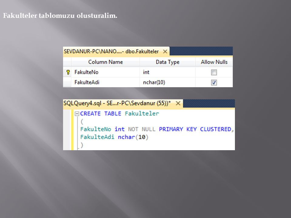 Create Database OgrenciBilgiSistemi CREATE TABLE Fakulteler( FakulteNo int NOT NULL PRIMARY KEY CLUSTERED, FakulteAdi nchar(10) ) CREATE TABLE Bolumler( BolumNo int NOT NULL PRIMARY KEY CLUSTERED, BolumAdi nchar(10), FakulteNo int Not NULL ) CREATE TABLE Dersler( DersNo int NOT NULL PRIMARY KEY CLUSTERED, DersAdi nchar(10), BolumNo int NOT NULL, TeorikKredi int, UygulamaKredi int, )