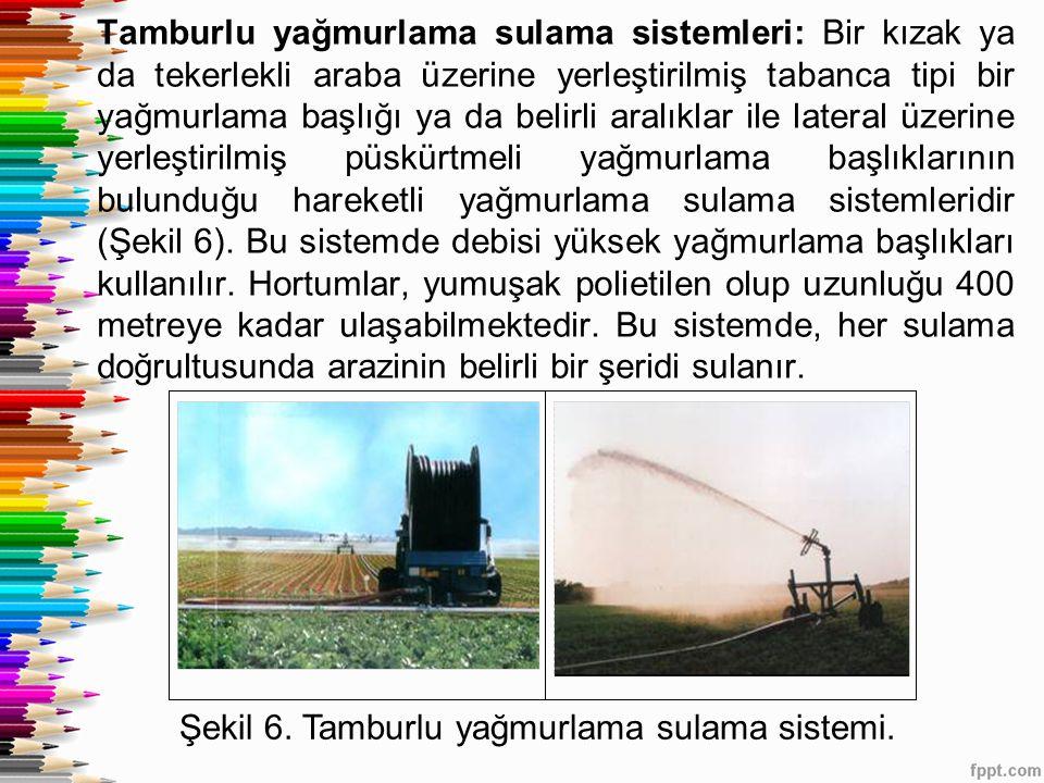 Tamburlu yağmurlama sulama sistemleri: Bir kızak ya da tekerlekli araba üzerine yerleştirilmiş tabanca tipi bir yağmurlama başlığı ya da belirli aralı