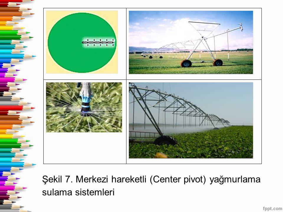 Şekil 7. Merkezi hareketli (Center pivot) yağmurlama sulama sistemleri