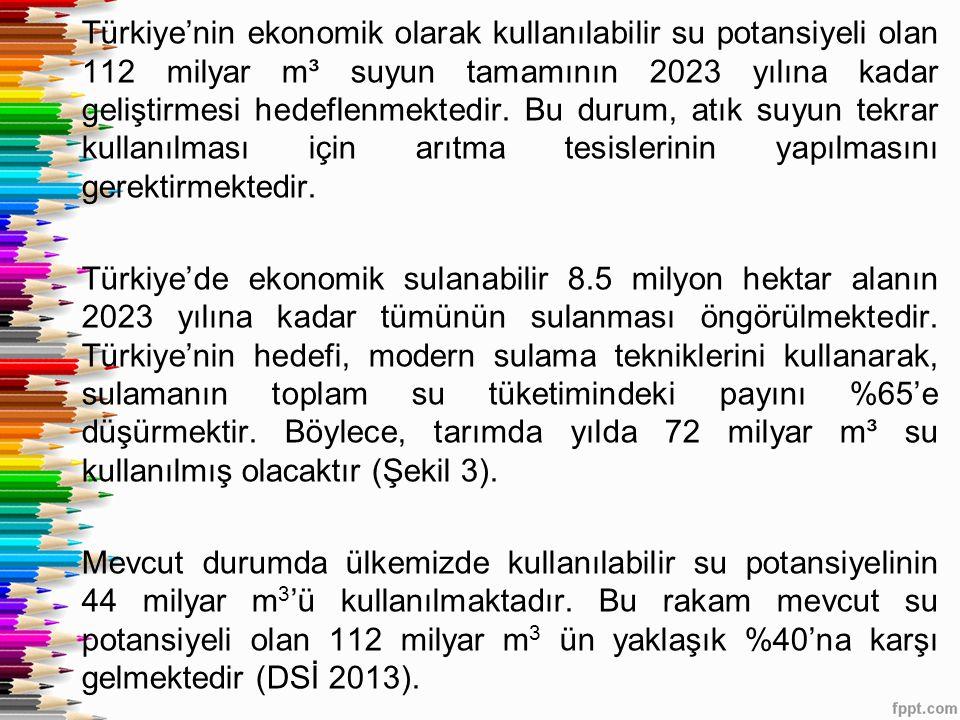 Türkiye'nin ekonomik olarak kullanılabilir su potansiyeli olan 112 milyar m³ suyun tamamının 2023 yılına kadar geliştirmesi hedeflenmektedir.