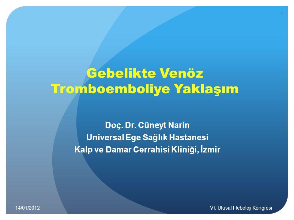 Gebelikte Venöz Tromboemboliye Yaklaşım Doç. Dr. Cüneyt Narin Universal Ege Sağlık Hastanesi Kalp ve Damar Cerrahisi Kliniği, İzmir 14/01/2012VI. Ulus