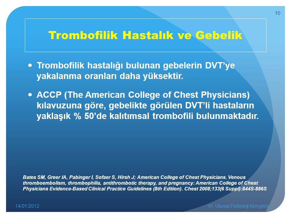 Trombofilik Hastalık ve Gebelik Trombofilik hastalığı bulunan gebelerin DVT'ye yakalanma oranları daha yüksektir. ACCP (The American College of Chest