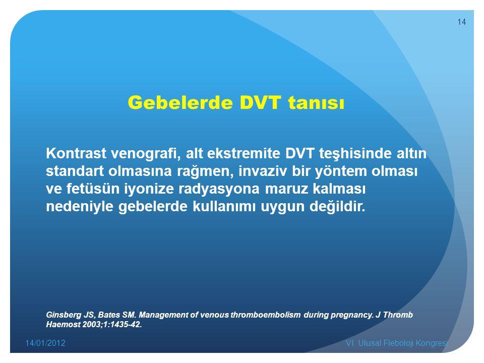 Gebelerde DVT tanısı Kontrast venografi, alt ekstremite DVT teşhisinde altın standart olmasına rağmen, invaziv bir yöntem olması ve fetüsün iyonize radyasyona maruz kalması nedeniyle gebelerde kullanımı uygun değildir.