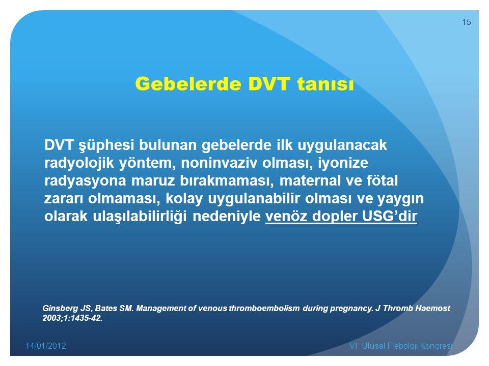 Gebelerde DVT tanısı DVT şüphesi bulunan gebelerde ilk uygulanacak radyolojik yöntem, noninvaziv olması, iyonize radyasyona maruz bırakmaması, maternal ve fötal zararı olmaması, kolay uygulanabilir olması ve yaygın olarak ulaşılabilirliği nedeniyle venöz dopler USG'dir 14/01/2012VI.