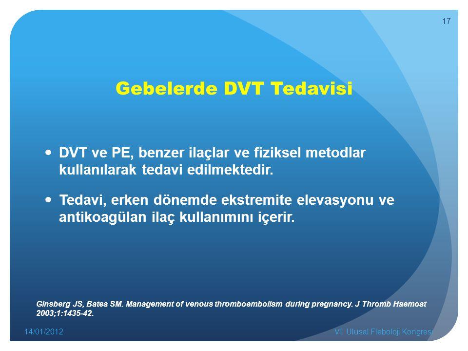 Gebelerde DVT Tedavisi DVT ve PE, benzer ilaçlar ve fiziksel metodlar kullanılarak tedavi edilmektedir. Tedavi, erken dönemde ekstremite elevasyonu ve