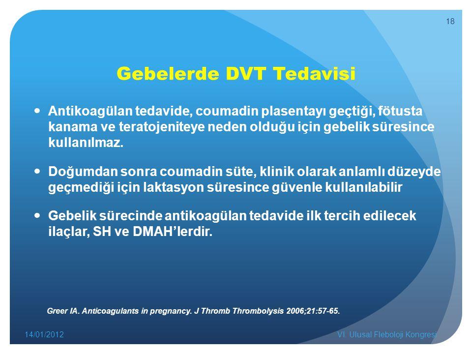 Gebelerde DVT Tedavisi Antikoagülan tedavide, coumadin plasentayı geçtiği, fötusta kanama ve teratojeniteye neden olduğu için gebelik süresince kullanılmaz.