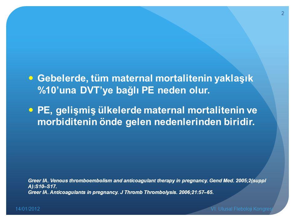 Gebelerde, tüm maternal mortalitenin yaklaşık %10'una DVT'ye bağlı PE neden olur. PE, gelişmiş ülkelerde maternal mortalitenin ve morbiditenin önde ge