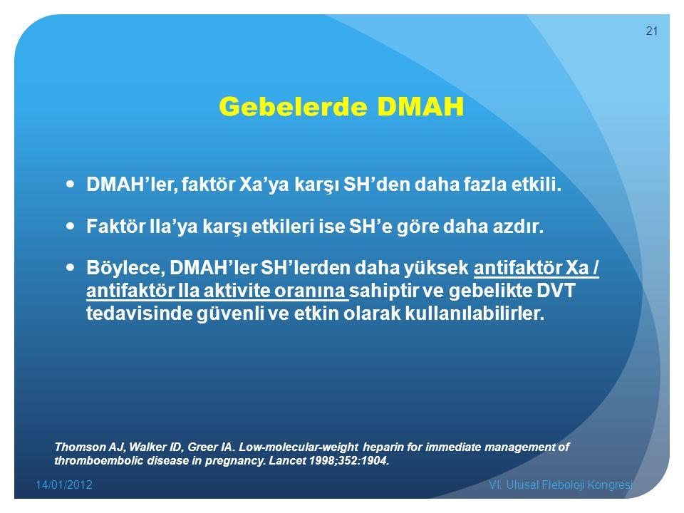 Gebelerde DMAH DMAH'ler, faktör Xa'ya karşı SH'den daha fazla etkili. Faktör IIa'ya karşı etkileri ise SH'e göre daha azdır. Böylece, DMAH'ler SH'lerd