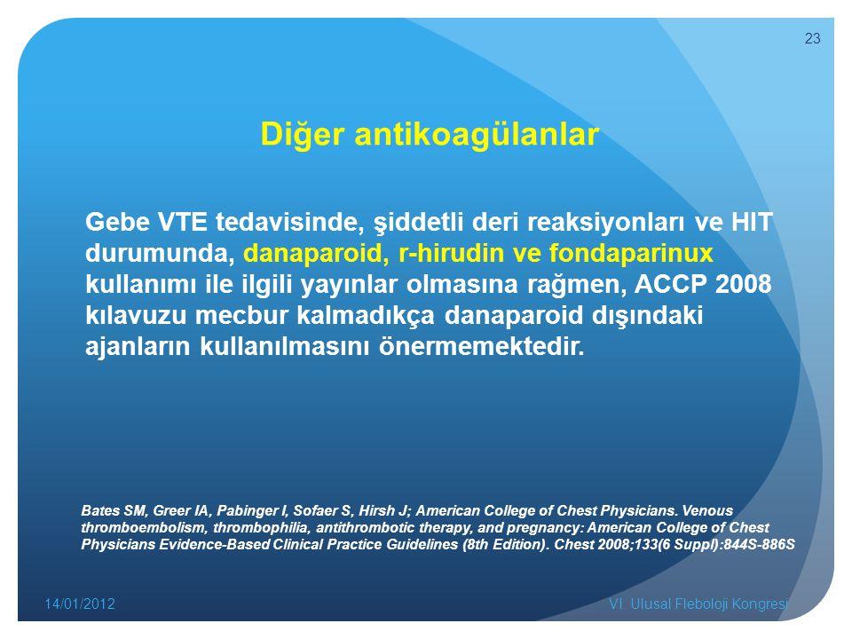 Diğer antikoagülanlar Gebe VTE tedavisinde, şiddetli deri reaksiyonları ve HIT durumunda, danaparoid, r-hirudin ve fondaparinux kullanımı ile ilgili yayınlar olmasına rağmen, ACCP 2008 kılavuzu mecbur kalmadıkça danaparoid dışındaki ajanların kullanılmasını önermemektedir.