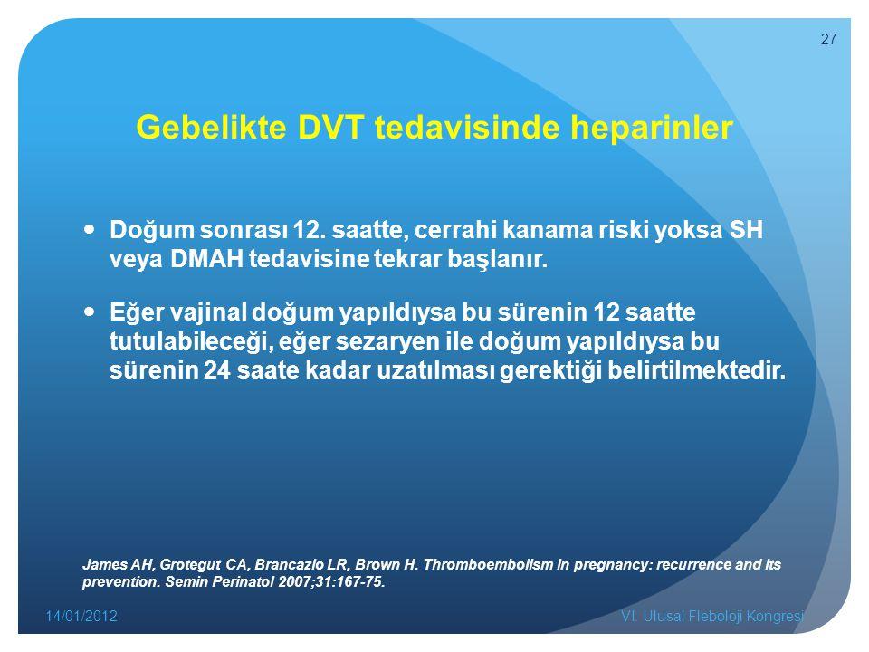 Gebelikte DVT tedavisinde heparinler Doğum sonrası 12.