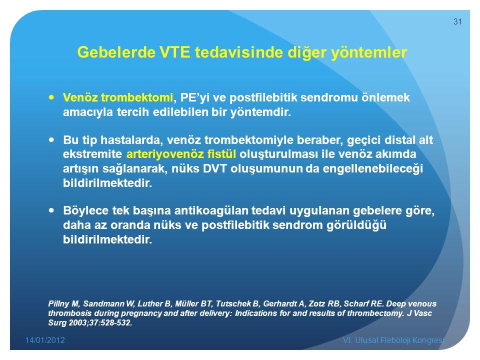 Gebelerde VTE tedavisinde diğer yöntemler Venöz trombektomi, PE'yi ve postfilebitik sendromu önlemek amacıyla tercih edilebilen bir yöntemdir.