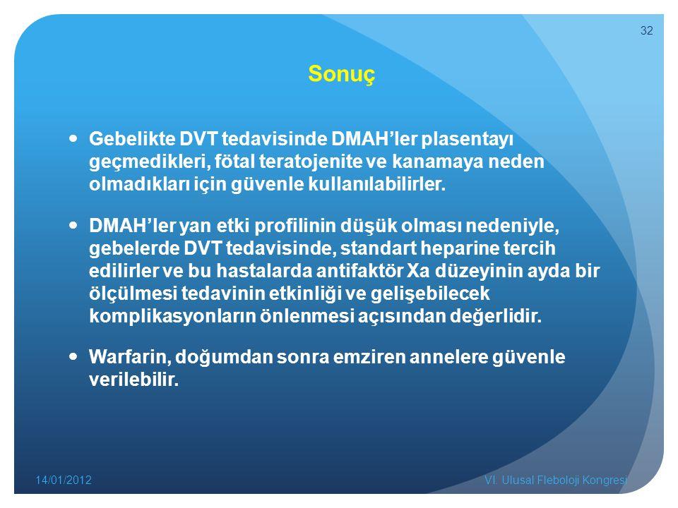 Sonuç Gebelikte DVT tedavisinde DMAH'ler plasentayı geçmedikleri, fötal teratojenite ve kanamaya neden olmadıkları için güvenle kullanılabilirler. DMA