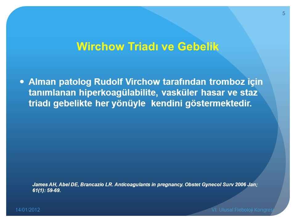 Wirchow Triadı ve Gebelik Alman patolog Rudolf Virchow tarafından tromboz için tanımlanan hiperkoagülabilite, vasküler hasar ve staz triadı gebelikte her yönüyle kendini göstermektedir.