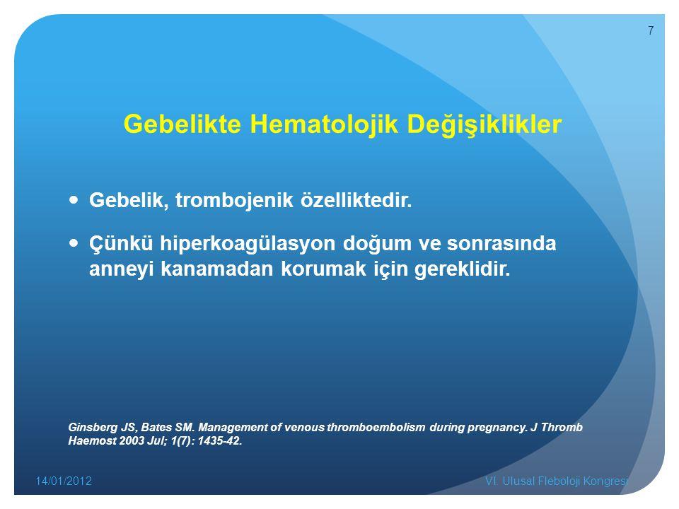Gebelikte Hematolojik Değişiklikler Gebelik, trombojenik özelliktedir.