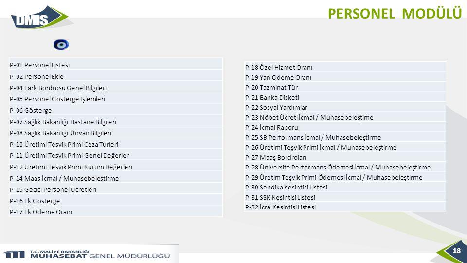 PERSONEL MODÜLÜ 18 P-01 Personel Listesi P-02 Personel Ekle P-04 Fark Bordrosu Genel Bilgileri P-05 Personel Gösterge İşlemleri P-06 Gösterge P-07 Sağ